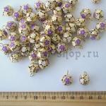Бубенчики золотые с сиреневыми цветочками