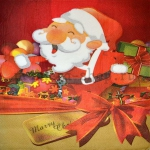 Салфетка Санта с бантом