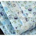 Ткань для печворка и рукоделия Мелкие цветочки. Голубая