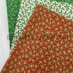 Ткань из коллекции Новогодняя: Листики на красном