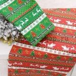 Ткань из коллекции Новогодняя: Сани с оленями. Красная
