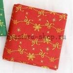 Ткань из коллекции Новогодняя: Снежинки-бантики красная