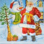 Салфетка Санта со снеговиком