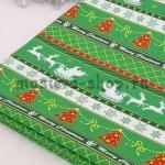 Ткань из коллекции Новогодняя: Сани с оленями. Зеленая