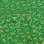 Ткань из коллекции Новогодняя: Листики на зеленом