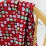 Ткань из коллекции Рождество в кружочках: Снежинки. Красная