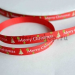 Репсовая лента Marry Christmas на красном фоне