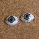 Глаза-рыбки для кукол и игрушек. Акрил Серые 14 мм (пара)