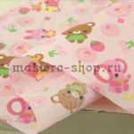 Ткань для печворка и рукоделия Детская розовая