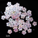 Пайетки цветок 10 мм голографик пятилепестковый Серебро - 190шт