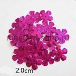 Пайетки цветок 20 мм голографик пятилепестковый Малиновый - 1шт