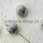 Серебрянная металлическая бусина. Гребешок