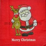 Салфетка Merry Christmas красная