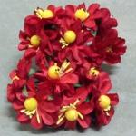 Бумажные цветочки. Мини цветочки. Красные 3,5 см