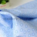 Ткань для печворка и рукоделия Голубые цветочки