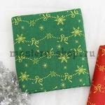 Ткань из коллекции Новогодняя: Снежинки-бантики зеленая