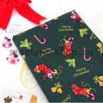 Ткань из коллекции Подарки Санты: Носки. Зеленая