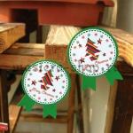 Бирки-наклейки Новогодние зеленые. 5 шт.
