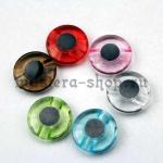 Глаза пришивные прозрачные зеленые 12 мм (пара)