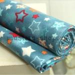 Ткань для печворка и рукоделия  Звезды и снежинки Синяя