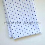 Ткань для печворка и рукоделия Синие сердечки на белом