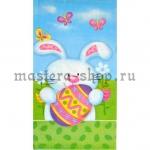 Салфетка Зайчик с пасхальным яйцом и бордюром