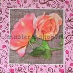 Салфетка Розы на мешковине