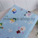 Ткань для печворка и рукоделия Снеговики на голубом