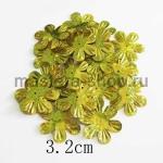 Пайетки цветок 32 мм голографик шестилепестковый Золото - 1ш