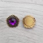 Серединка для бантика Круг страза в бронзе фиолетовая 1 шт.