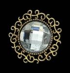 Серединка для бантика Круг страза в бронзе прозрачный 1 шт.
