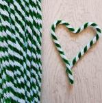 Проволока шенил (синель) двойная Зелено-белый