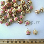 Бубенчики золотые с розовыми цветочками