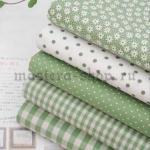 Набор тканей для пэчворка и рукоделия Зеленые - 5 отрезов