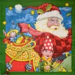 Салфетка Дед Мороз с эльфом