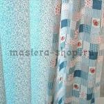 Набор тканей для пэчворка и рукоделия Розочки на голубом - 2 отр