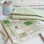 Набор тканей для пэчворка и рукоделия Розочки на зеленом - 2 отр