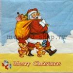 Салфетка Дед Мороз со зверятами