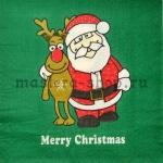 Салфетка Merry Christmas зеленая