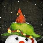 Салфетка Снеговик с кардиналом
