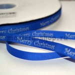 Репсовая лента Marry Christmas на синем фоне