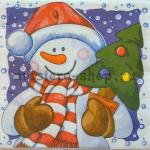 Салфетка Снеговик с елкой в горшке