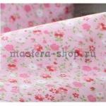 Ткань для печворка и рукоделия Мелкие цветочки. Розовая