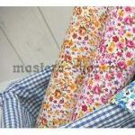 Ткань для печворка и рукоделия Мелкие цветы и розы. Коричневая