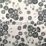 Салфетка Черные цветы на белом фоне