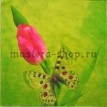 Салфетка Бабочка и тюльпан