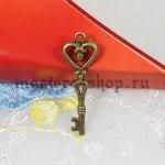 Винтажная подвеска Ключ-сердце