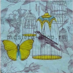 Салфетка Желтая бабочка и птички в клетках