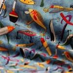 Ткань для печворка и рукоделия Рыбалка