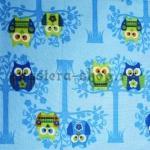 Ткань для печворка и рукоделия Совы на дереве - голубая